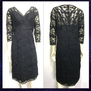 Marina 16W Black Lace Sequins Tiered Dress NEW